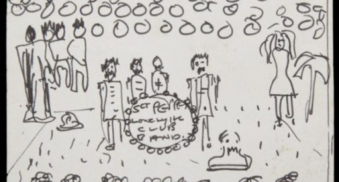 John Lennon's Sketch of The Beatles' SGT. PEPPER'S Album Cover is up for Auction | Nerdist