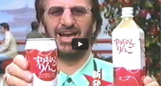 Here's Ringo Star Featured in a Japanese Apple Juice Commercial