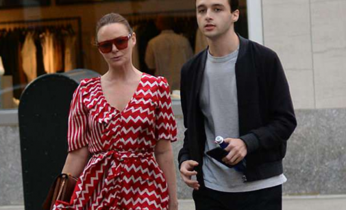 Stella McCartney wears red and white belted midi dress as she joins nephew Arthur for dinner | Daily Mail Online