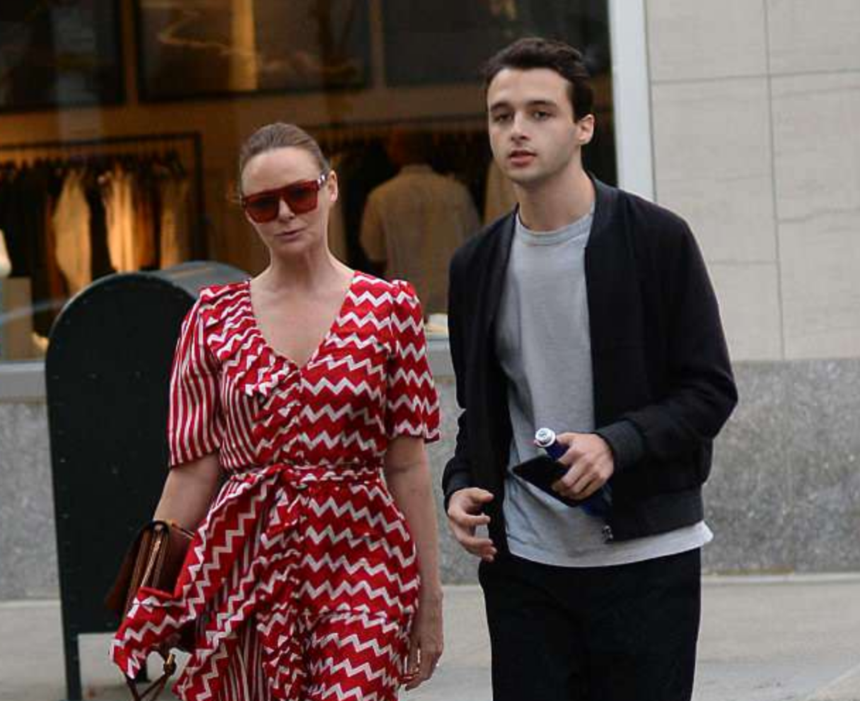 Stella McCartney wears red and white belted midi dress as she joins nephew Arthur for dinner   Daily Mail Online