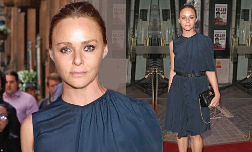 Stella McCartney poses in stylish navy outfit for Killer Joe press night | Daily Mail Online
