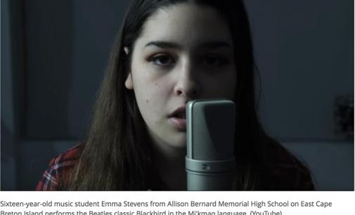 Cape Breton student sings beautiful Mi'kmaq rendition of the Beatles' Blackbird: watch | CBC Radio