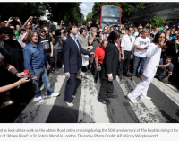 Fans recreate The Beatles' Abbey Road cover shot 50 years on   Newsday