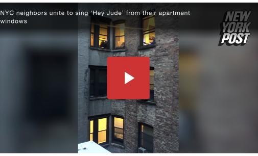 NYC neighbors sing 'Hey Jude' from apartment windows