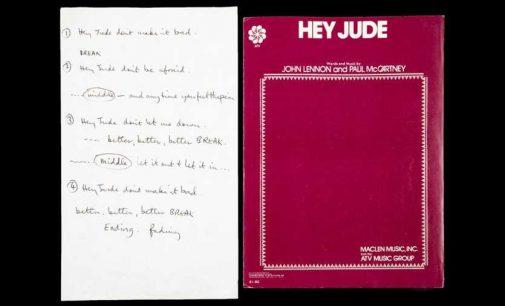 Lyrics to The Beatles' 'Hey Jude,' handwritten by Paul McCartney, sold for nearly $1 million