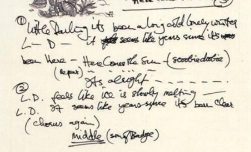 George Harrison handwritten lyrics for 'Here Comes the Sun'
