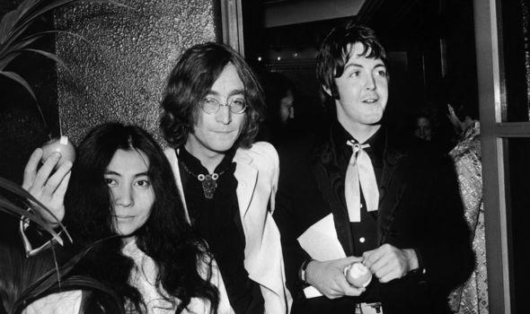 Paul McCartney with John Lennon and Yoko Ono