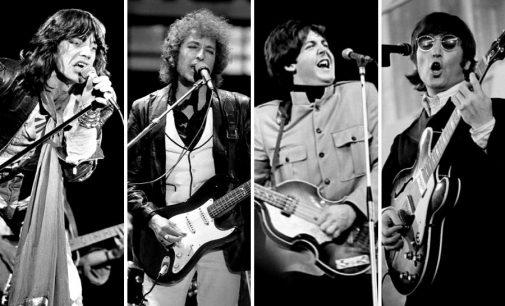 Bob Dylan, Mick Jagger, John Lennon, Paul McCartney prank