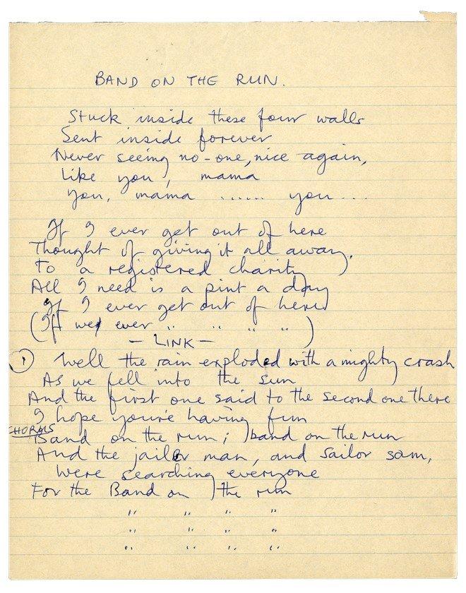 Paul's Handwritten 'Band On The Run' lyrics